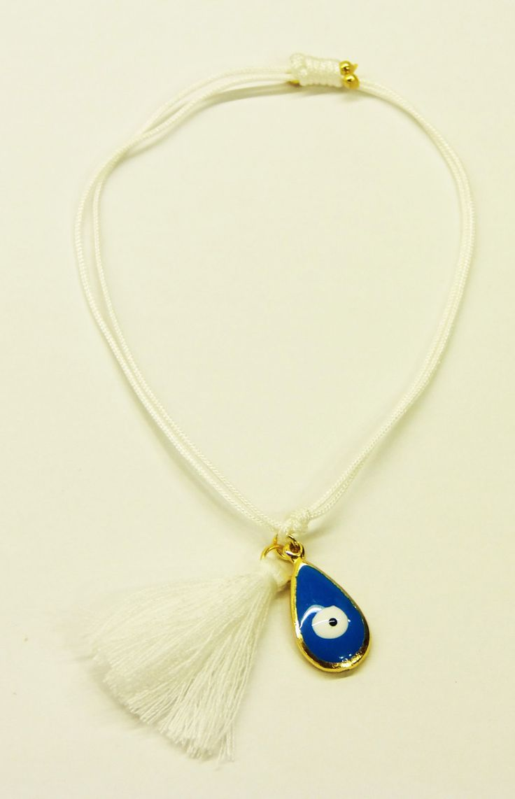 Handmade bracelet/white leather/white tassel/base metal rain drop charm/gold plated/24 carats/blue enamel/eye by CrownedCharm on Etsy