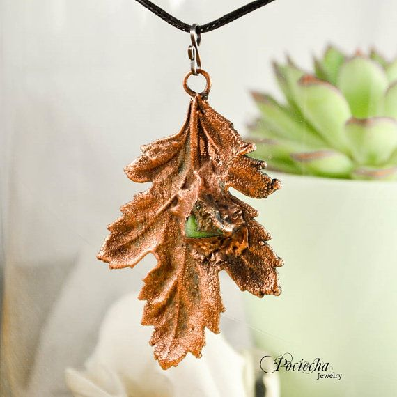 Electroformed Leaf Necklace Chrysoprase BotanicalLeaf