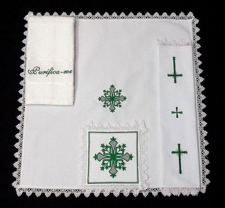 Conjunto para Altar - Alfaias - com bordados Angelus Brasil.