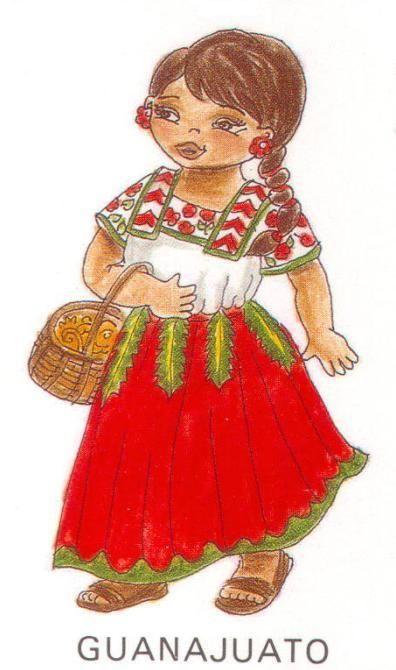 Ilustración de traje tipico de Guanajuato.