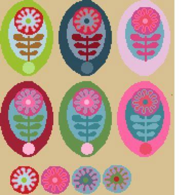 grille gratuire : fleurs multicolores inspirées de Erin Mc Morris