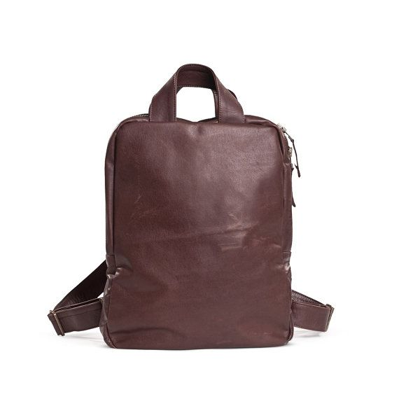 Brown Leather Backpack  Brown Satchel  Leather Laptop by KisimBags
