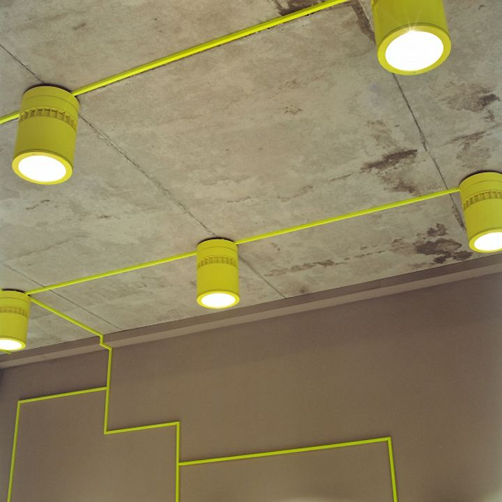 Ceiling light - a variation of Emphasize trunking if it can't be hidden.  Volution Sports store by MIKS Konzepte, Tinnum – Germany