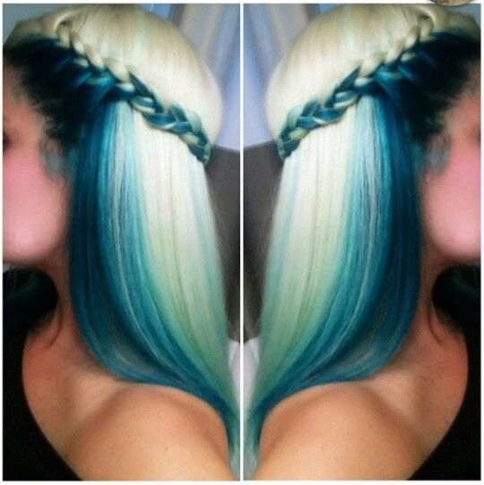Blonde and blue dyed hair