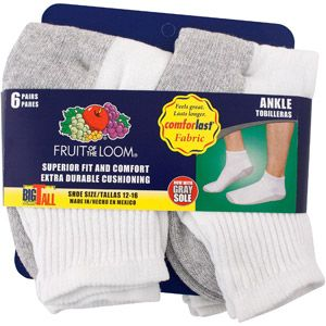Fruit of the Loom Men's Big and Tall Premium Ankle Athletic Socks, 6-Pack