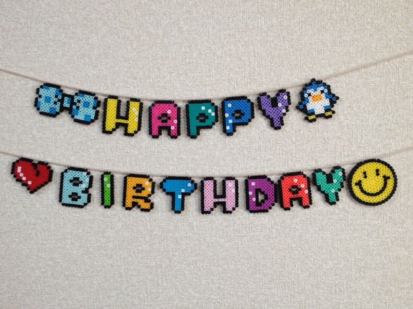 Happy Birthday garland perler beads