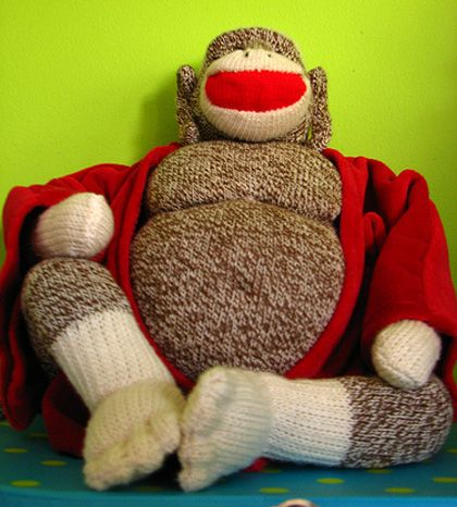 sock monkey buddha: Craft, Sock Monkeys, Stuff, Buddha Sock, Funny, Socks, Monkey Buddha, Monkey Mania