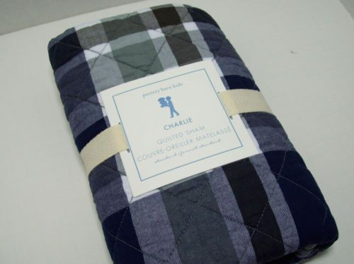 Pottery Barn Kids Blue Green Brown Charlie Plaid Quilted