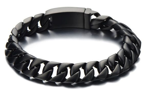 black cuban chain bracelet men black stainless steel curb. Black Bedroom Furniture Sets. Home Design Ideas