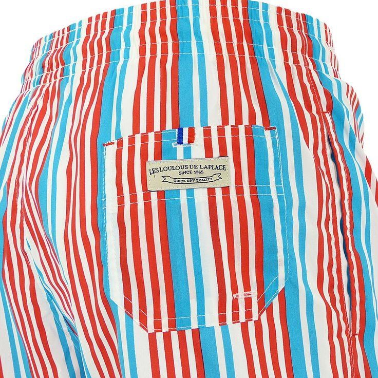 Jules - Maillot short de bain homme rouge, bleu et blanc stripe - Les Loulous de la plage