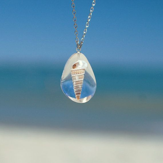 resin jewelry seashell necklace - ocean beach nautical jewelry