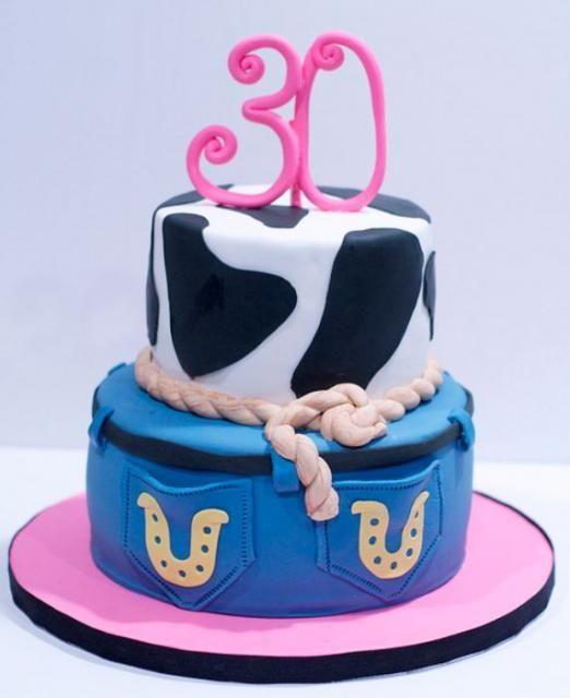 Denim jean shorts 2 tier 30th birthday cake for lady.JPG