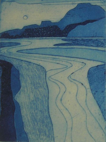 Welsh Estuary 2 by John Brunsdon, 1978, Size:	6 x 4 (15cm x 10.2cm), Medium:	Etching with Aquatint  This guy taught me.
