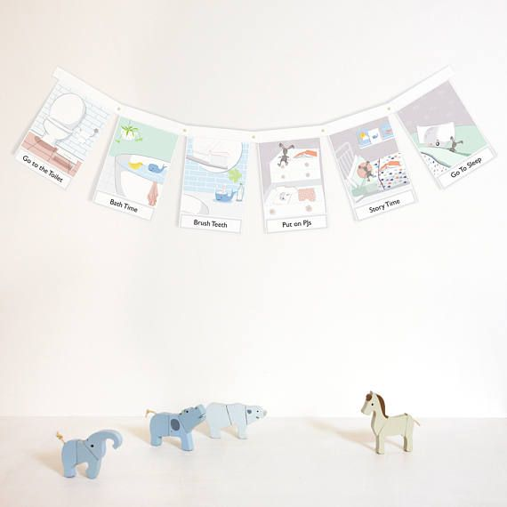 BEDTIME routine BUNTING Wall hanging for kids early