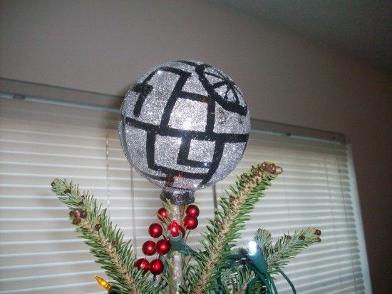 DIY glittery Death Star holiday tree topper | Offbeat Home & Life