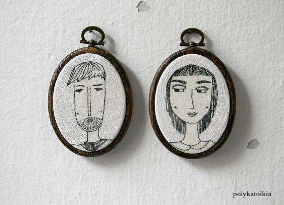 H e and S he CUSTOM Couple PortraitPersonalized by polykatoikia