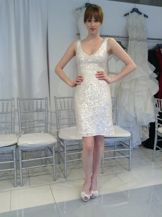 Stunning Short Sequin Wedding Reception Dress Theia White Collection
