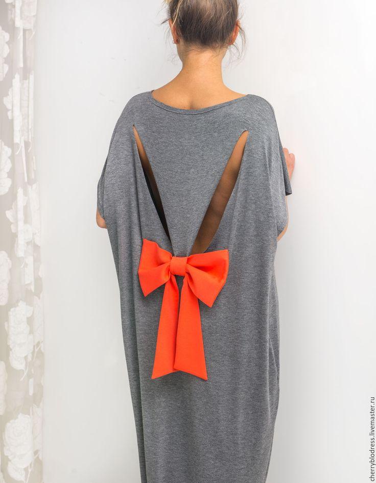 Купить Темно-серое летнее макси платье, кафтан с открытой спиной - темно-серый, однотонный