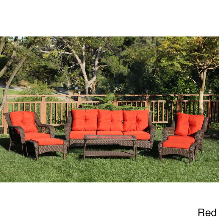 6piece resin wicker patio set overstock shopping big discounts on today - Overstock Patio Furniture