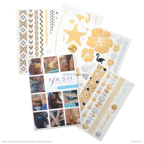 Obsessed with the Flash Tattoos x Goldfish Kiss H20 collection by Rebekah Steen! The four sheet beachy pack features over 40 jewelry-inspired metallic tattoos! #FLASHTAT @FlashTattoos
