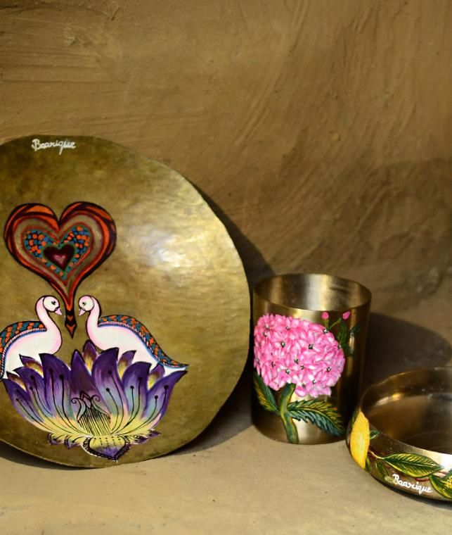Hand-painted brass home accents on Jaypore.com