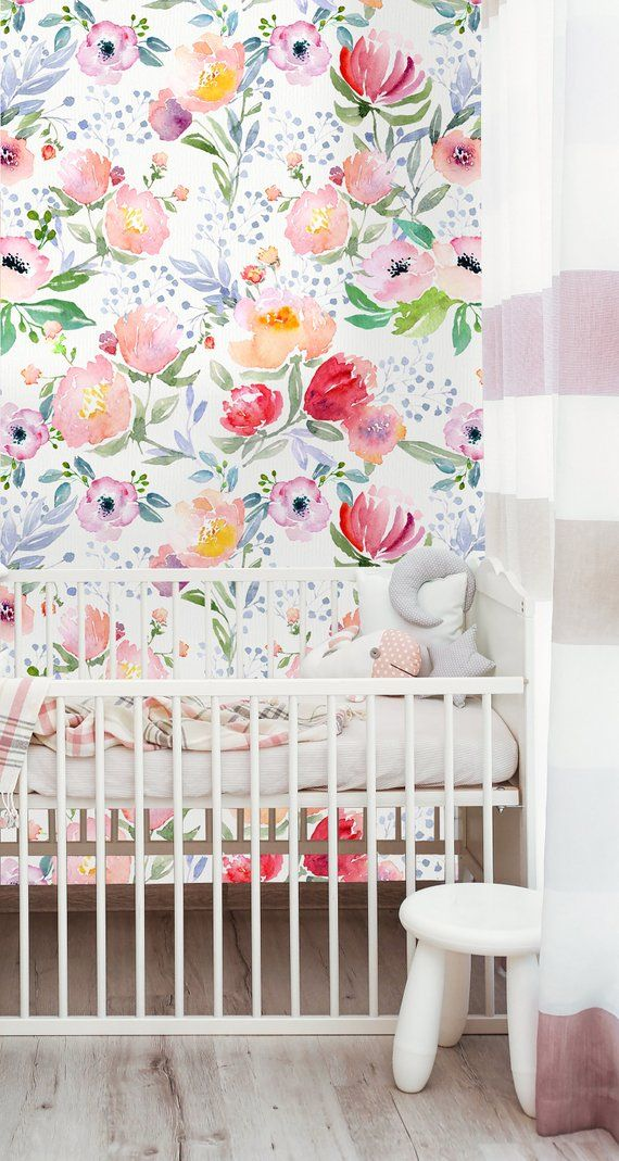 Removable Wallpaper Self Adhesive Watercolor Bright Flowers L Stick Nursery