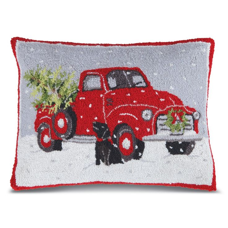 Decorative Christmas Pillows Red Truck Hooked Wool