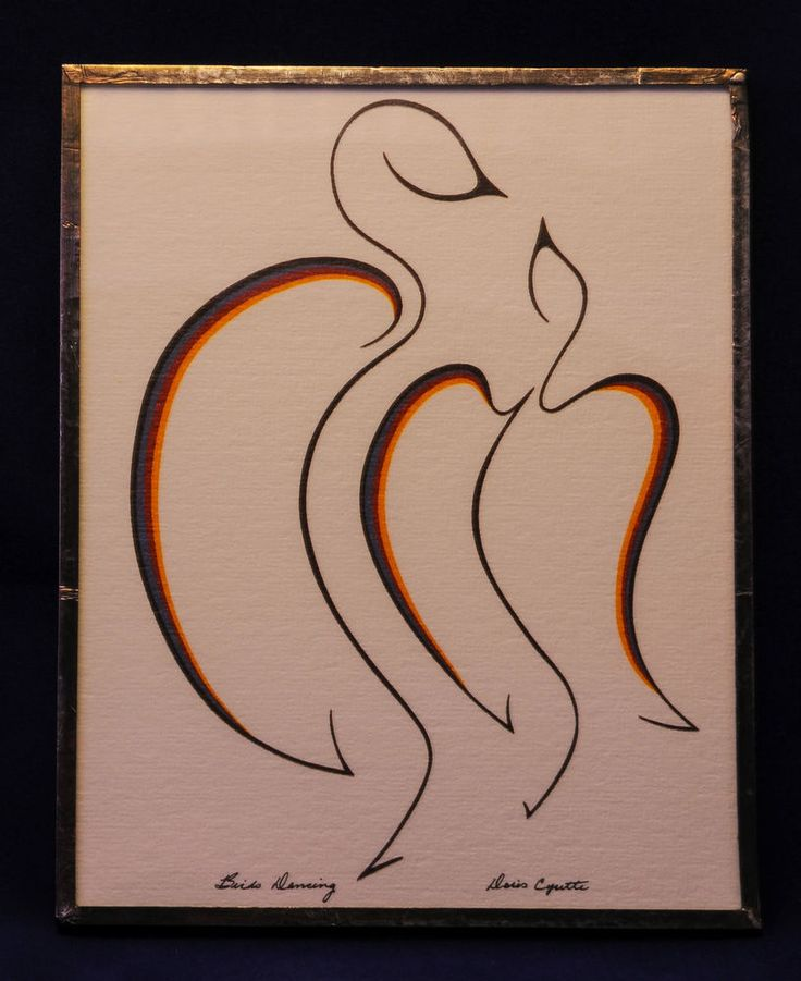 Doris Cyrette Birds Dancing signed in a metal frame Ojibway tribe hand crafted