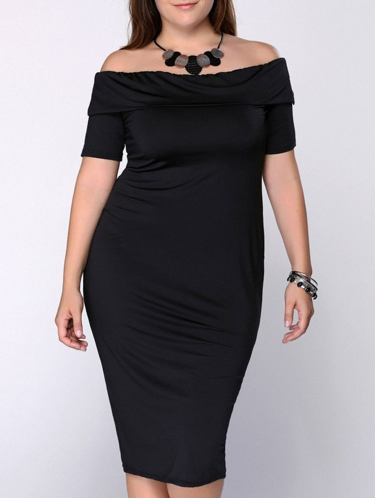 Stylish Plus Size Off The ShoulderMidi Dress For Women  Check out our amazing collection of plus size dresses at http://wholesaleplussize.clothing/
