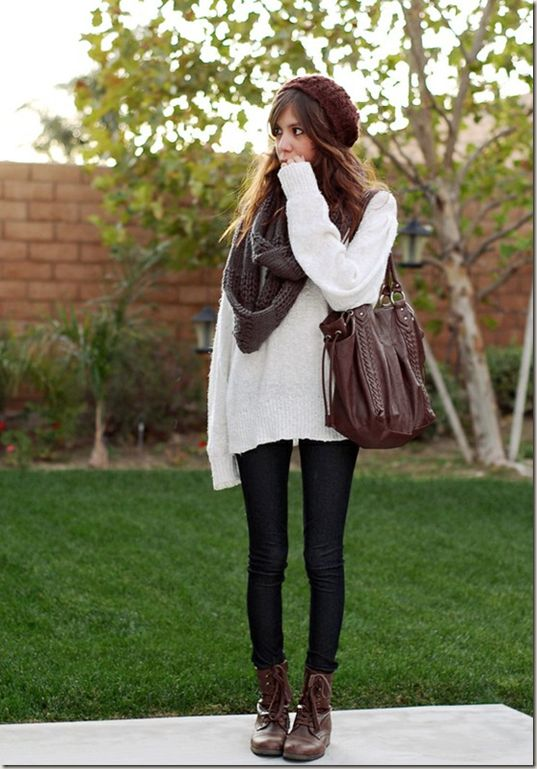 like this look, but i'd probably not do white/cream for the sweater. maybe olive, navy or brown. like the hat, but not in maroon.