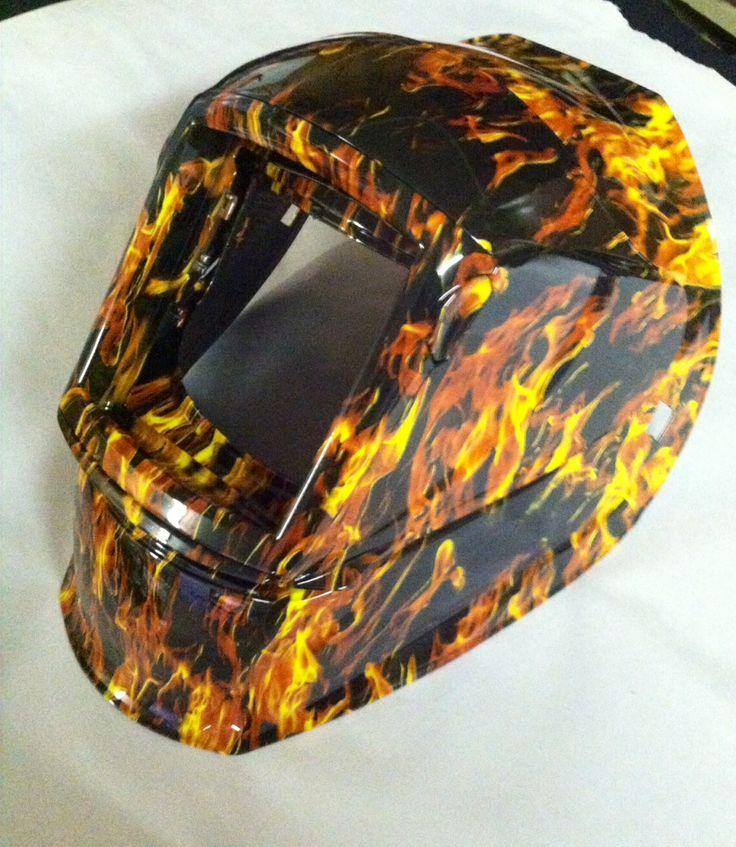 Custom Welding Helmets >> Welding helmet customized with Hydrographics in True Flame pattern. Follow us on Facebook ...