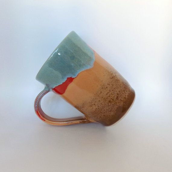 Multicoloured Stoneware Mug Handmade Tea Mug Ceramic by ZozPots
