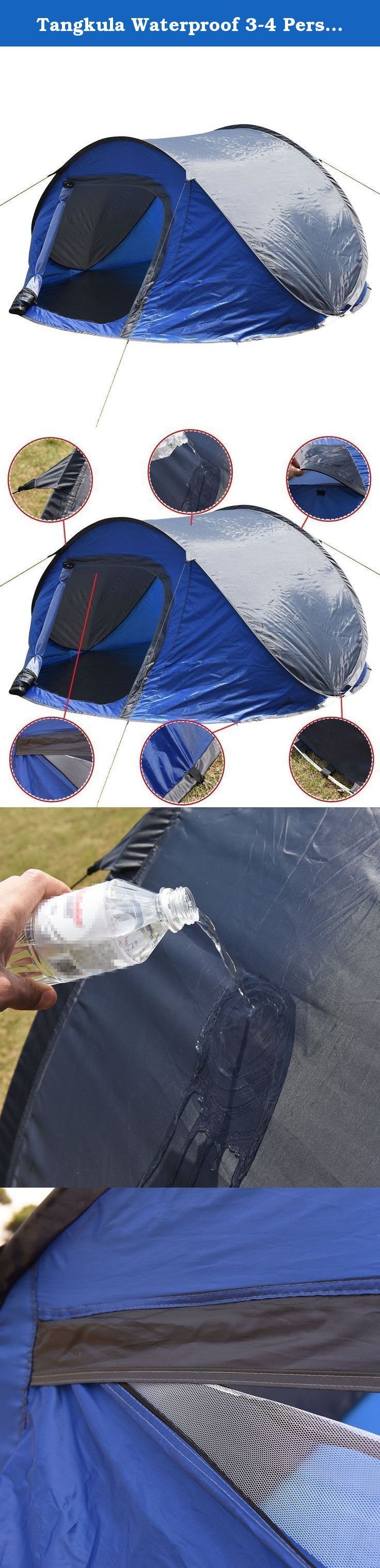 Tangkula Waterproof 3-4 Person Camping Tent Automatic Pop Up Quick Shelter Outdoor Hiking. Because Of The Special Structure, This Automatic Tent Can Be Set Up Quickly And Suitable For Two Persons. Super Classic Interior Design, Door Can Be Opened From Inside And Outside, Convenient And Comfortable. Professional Waterproof Fabric, Wind Proof By Strong Skeleton With The Tent Nails. Compact And Lightweight, Come With A Carrying Bag, Very Convenient To Carry And Store. Good Ideal For Camping…