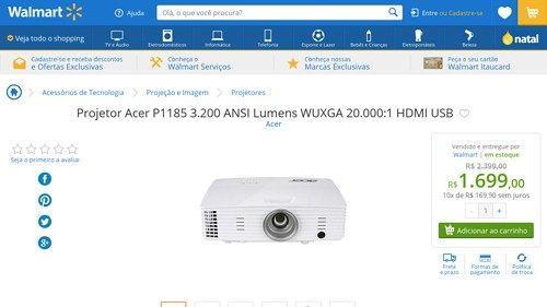 [Wal-Mart] Projetor Acer P1185 3.200 ANSI Lumens WUXGA 20.000:1 HDMI USB MR. JL811.00C 3014867 - de R$ 1.769,45 por R$ 1.699,00 (3% de…