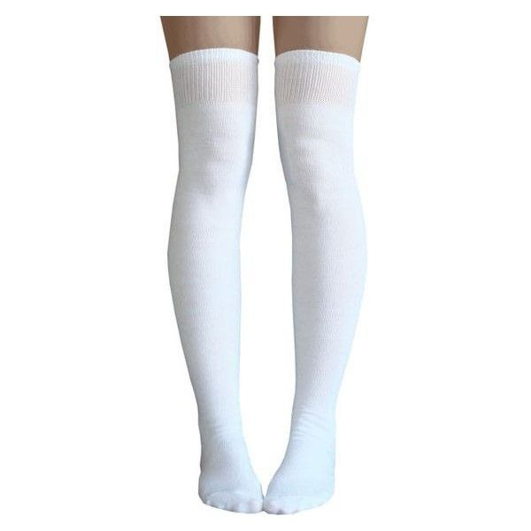White thigh high socks ❤ liked on Polyvore featuring intimates, hosiery, socks, thigh high knee socks, white knee socks, white socks, knee hi socks and white hosiery