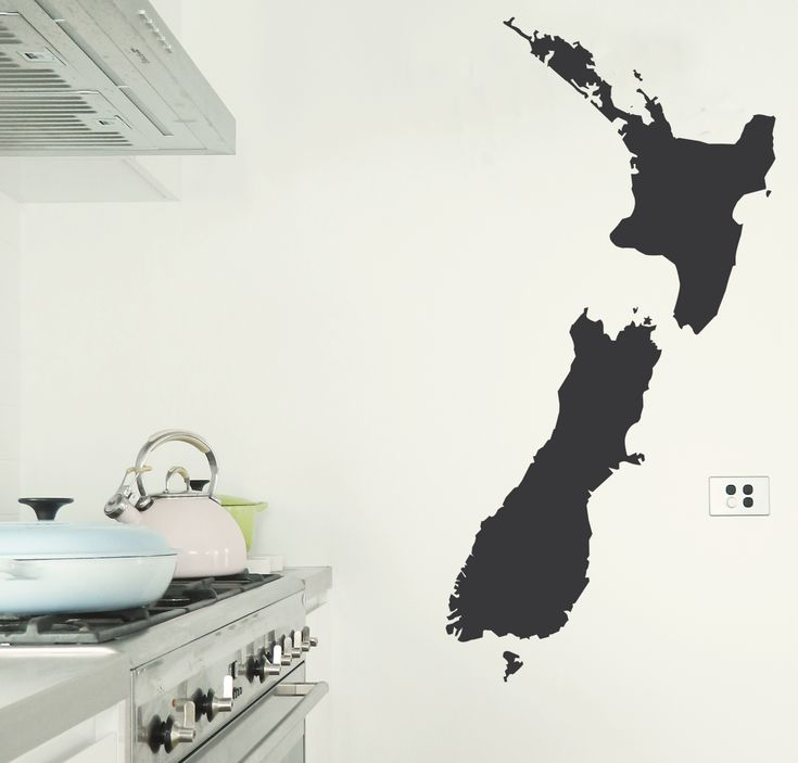 Chalkboard Wall Sticker of New Zealand. Mark on where relatives live or where you plan to visit. https://www.moonfacestudio.com.au/product-page/new-zealand-map-chalkboard-wall-sticker #newzealand #newzealandguide #chalkboard #wallstickers