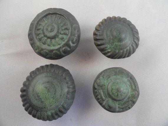 Ceramic Cabinet KnobsBronze Green Handmade by PotteryByPatricia, $7.00