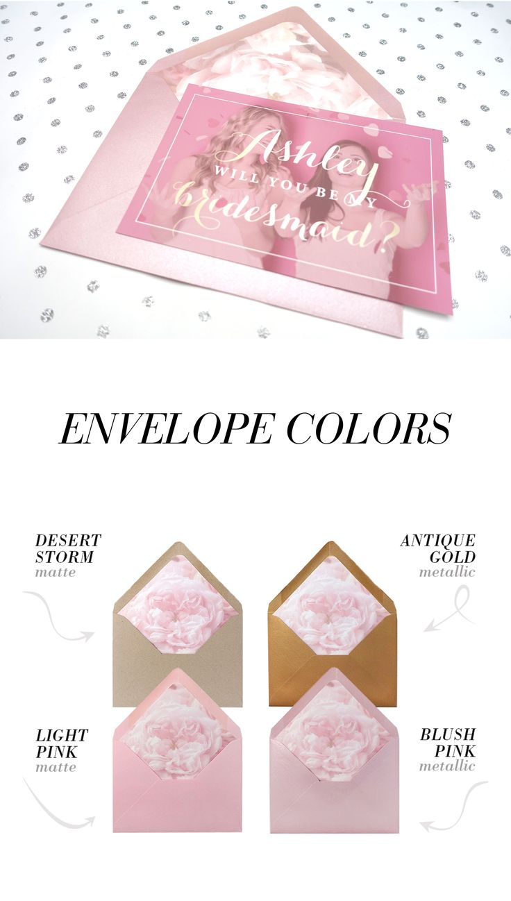 Blush and gold will you be my bridesmaid card is a trend this season. Customize photo and envelope color.