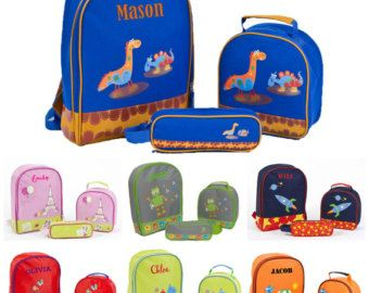 Personalized Monogrammed Preschool Backpack Matching Lunch Bag Set Bookbag Pencil Case Boys Girls Embroidered Name Robot Elephant Dinosaur