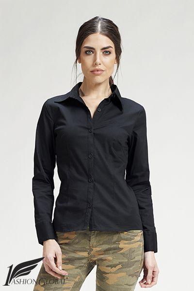 Camisa negra de mujer, entallada, de algodón/elastano. 23.90€  ENVÍOS A TODO EL MUNDO. PAGOS: tarjetas crédito y débito.  https://www.1fashionglobal.net/todomodaonline/tienda/