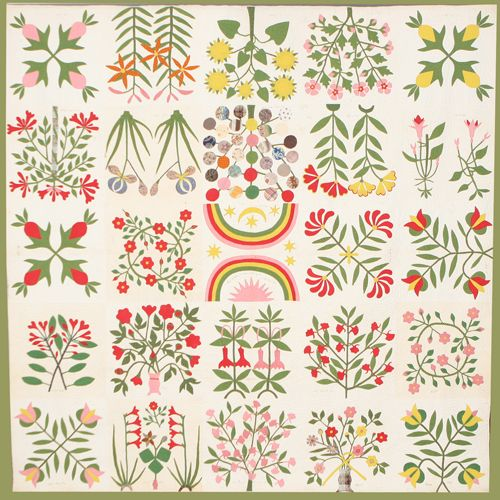 Civil War quilt... Quilt, Botanical, 1859 Shenandoah Valley, Virginia. Album quilt of local flowers with Union Forever square Made by Esther Matthews for her grandson Addison Blair Martz (died at Chancellorsville, May 1863) Cotton; appliquéd and quilted: