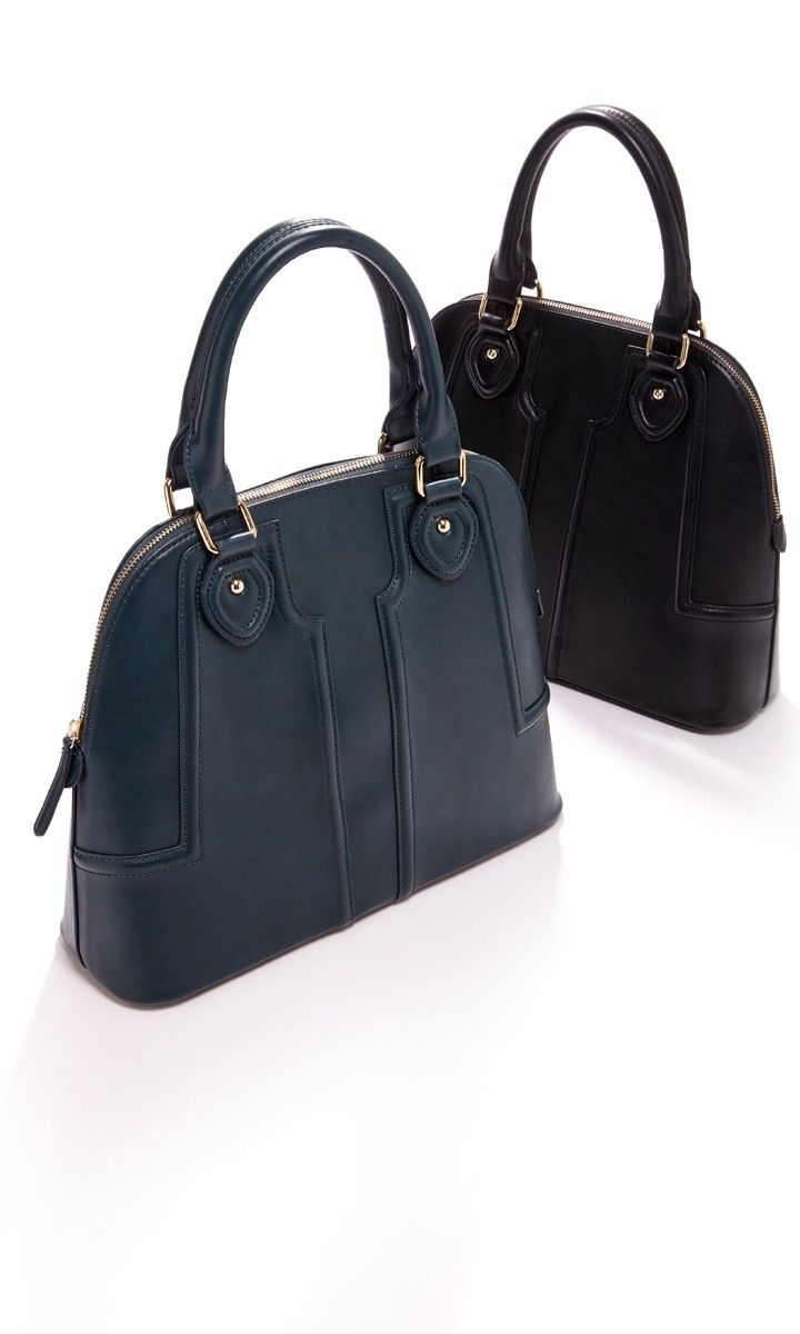 Vegan leather structured satchel with a retro-inspired shape