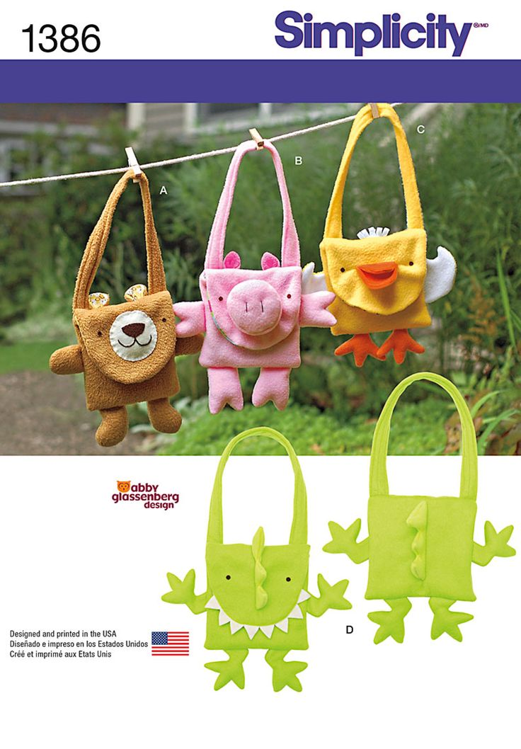 Adorable bear, pig, duck and dinosaur bags are easy to sew in fleece and cotton prints, with 3-D details that delight! DIY with Simplicity sewing pattern 1386.