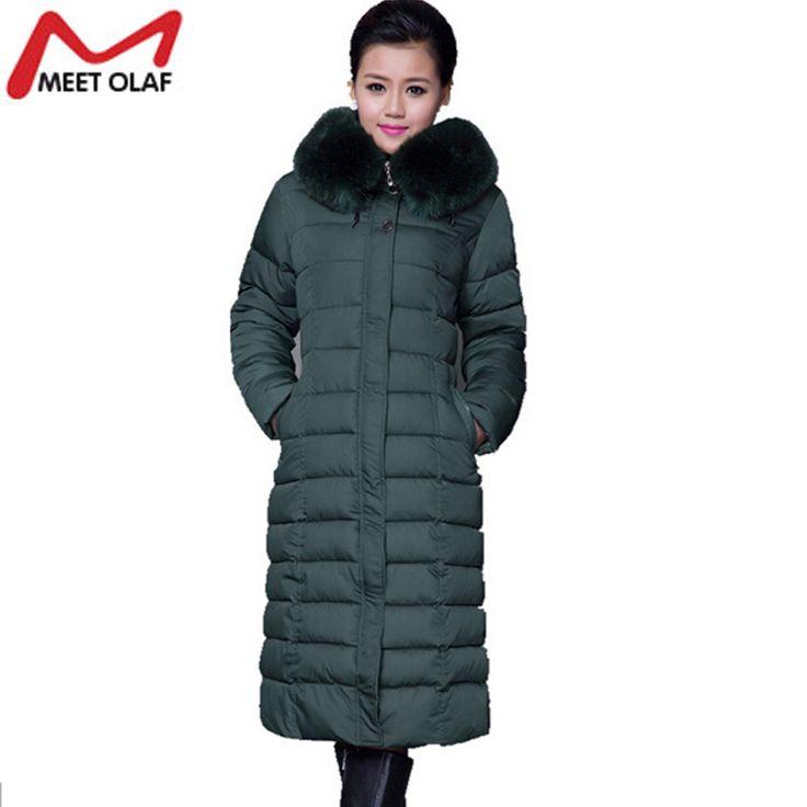 Hood Plus Size Winter Coat Women 2016 Large Faux Fur Collar Cotton Parka X-Long OverCoats Warm Hoodded Wadded Parkas YL336