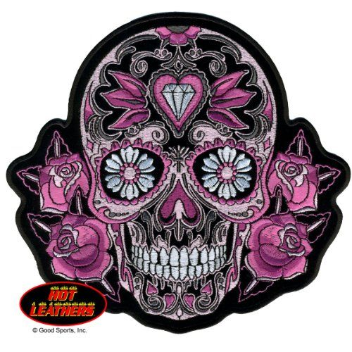 hot leathers 4� x 4� pink sugar skull with roses womens