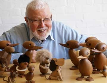 Hans Bølling with a gaggle of his own creations