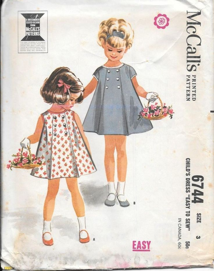 #Vintage #Sewing #Pattern 60s Childs Girl's #Dress McCalls 6744 Size 3