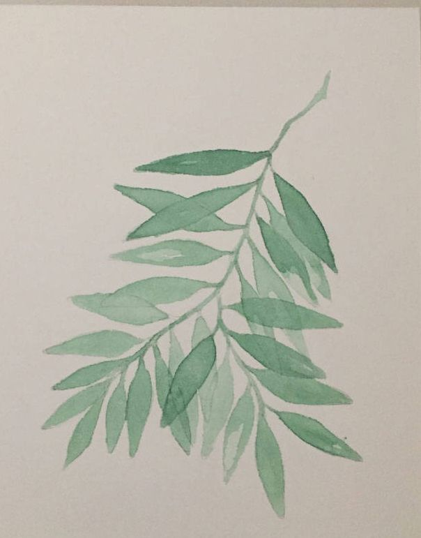 Quiero compartir lo último que he añadido a mi tienda de #etsy: Hojas Verdes en Rama lámina watercolor de la colección BOTANICAS decoración #acuarelas