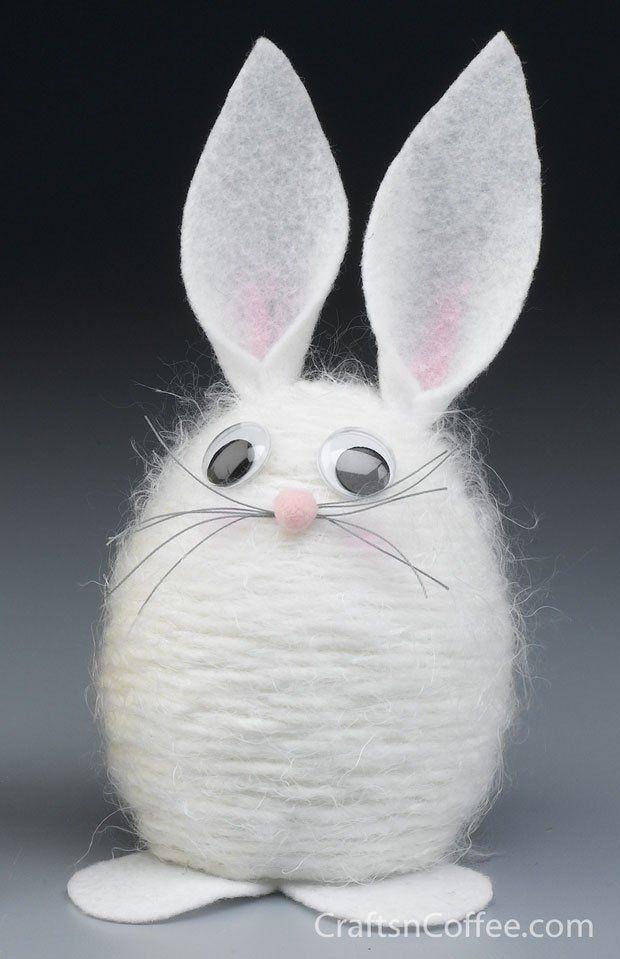 "Yarn Bunny To make the Yarn Bunny, you will need: STYROFOAM Brand Foam: 4"" egg White yarn (fuzzy yarn works well) Scrap of white felt 10mm..."