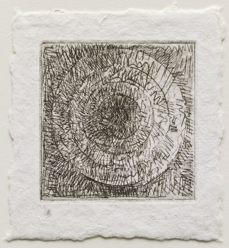 """Jasper Johns. Target I. 1967. Etching. plate: 4 1/16 x 4 1/16"""" (10.3 x 10.3 cm); sheet: 5 3/4 x 5 1/2"""" (14.6 x 14 cm). Gift of the Celeste and Armand Bartos Foundation. 290.1968. © 2017 Jasper Johns / Licensed by VAGA, New York. Drawings and Prints"""